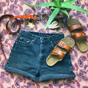 Levi's-Vintage Black High Waisted Denim Shorts